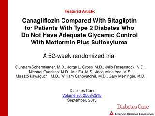 Canagliflozin Compared With Sitagliptin for Patients With Type 2 Diabetes Who
