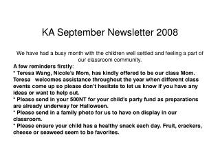 KA September Newsletter 2008