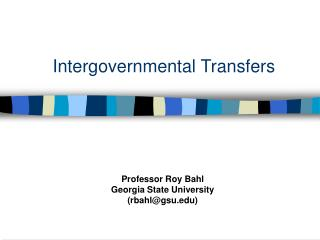 Intergovernmental Transfers