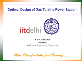 Optimal Design of Gas Turbine Power Station