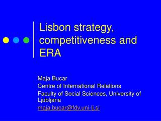 Lisbon strategy, competitiveness and ERA