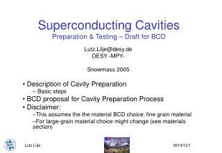 Superconducting Cavities Preparation & Testing – Draft for BCD
