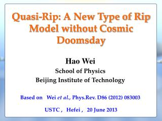 Quasi-Rip: A New Type of Rip Model without Cosmic Doomsday