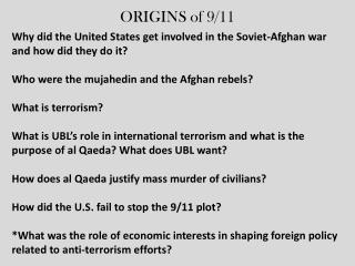 ORIGINS of 9/11