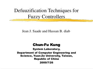 Defuuzification Techniques for Fuzzy Controllers