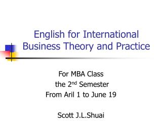 English for International Business Theory and Practice