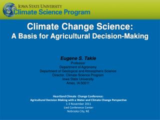 Climate Change  Science: A Basis for Agricultural Decision-Making