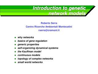 Introduction to genetic network models