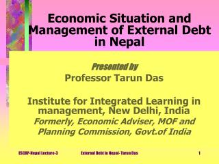 Economic Situation and Management of External Debt in Nepal