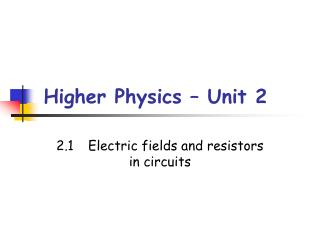 Higher Physics – Unit 2