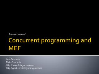 Concurrent programming and MEF