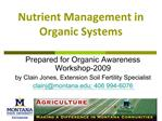 Nutrient Management in Organic Systems