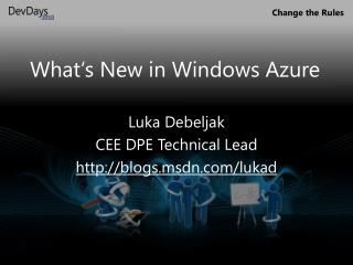 What's New in Windows Azure