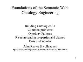 Foundations of the Semantic Web: Ontology Engineering