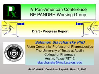 IV Pan-American Conference   BE PANDRH Working Group
