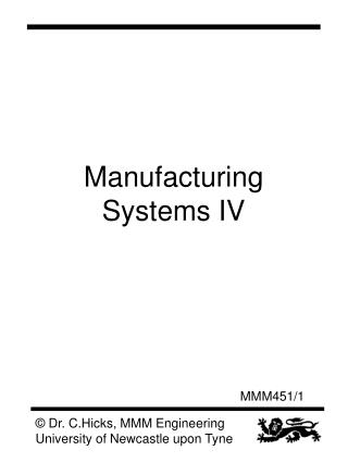 Manufacturing Systems IV
