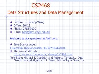 CS2468  Data Structures and Data Management