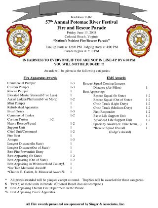 Invitation to the 57 th  Annual Potomac River Festival Fire and Rescue Parade