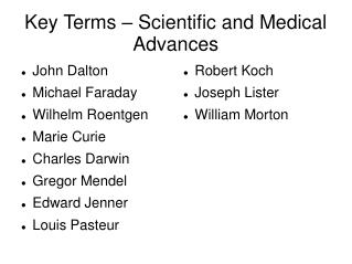 Key Terms – Scientific and Medical Advances
