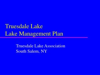 Truesdale Lake Lake Management Plan