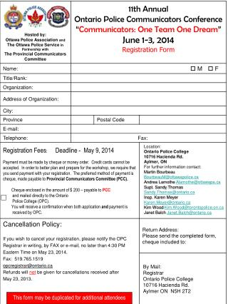 This form may be duplicated for additional attendees