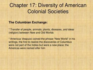 Chapter 17: Diversity of American Colonial Societies