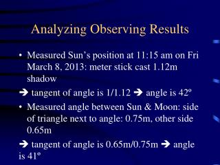 Analyzing Observing Results