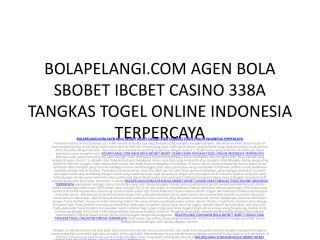 BOLAPELANGI.COM AGEN BOLA SBOBET IBCBET CASINO 338A