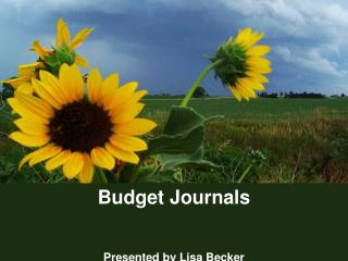 Budget Journals Presented by Lisa Becker