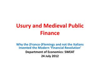 Usury and Medieval Public Finance