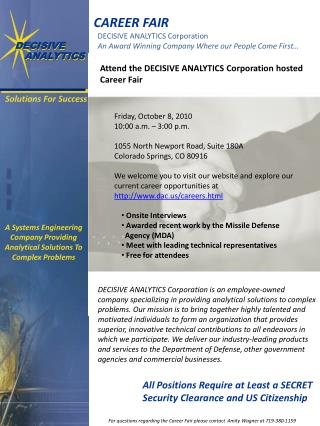 A Systems Engineering Company Providing Analytical Solutions To Complex Problems