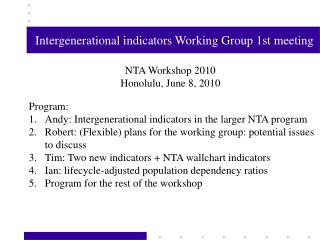 Intergenerational indicators Working Group 1st meeting