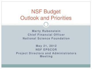 NSF Budget  Outlook and Priorities
