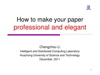 How to make your paper  professional and elegant