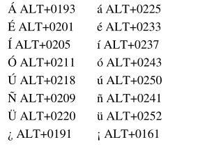 Á ALT+0193á ALT+0225 É ALT+0201é ALT+0233 Í ALT+0205í ALT+0237 Ó ALT+0211ó ALT+0243