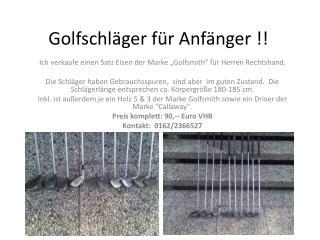 Golfschläger für Anfänger !!