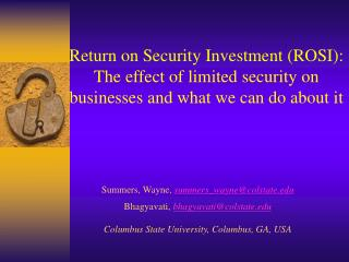 Return on Security Investment (ROSI):  The effect of limited security on businesses and what we can do about it