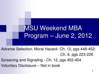MSU Weekend MBA Program – June 2, 2012