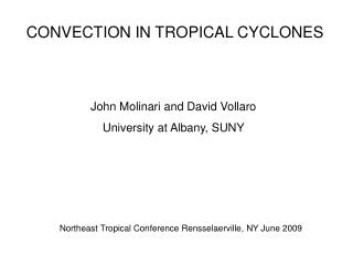 CONVECTION IN TROPICAL CYCLONES