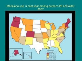 Marijuana use in past year among persons 26 and older, 2007.
