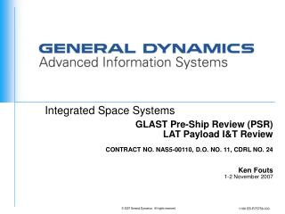 GLAST Pre-Ship Review (PSR)  LAT Payload I&T Review