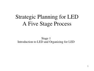 Strategic Planning for LED A Five Stage Process