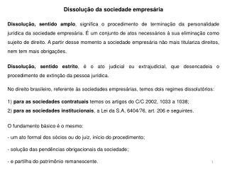 Dissolução da sociedade empresária