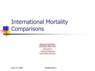 International Mortality Comparisons