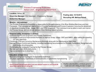 Process Engineering Supervisor Adrian-USA – Engineering Department