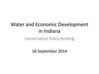Water and Economic Development in Indiana