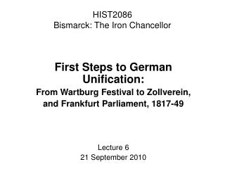 HIST2086 Bismarck: The Iron Chancellor