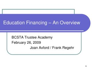 Education Financing – An Overview