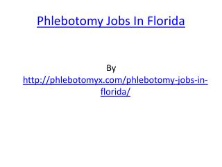 Phlebotomy Jobs In Florida