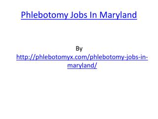 Phlebotomy Jobs In Maryland